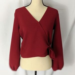 Texture & Thred/ Madewell Wrap Blouse, red, small